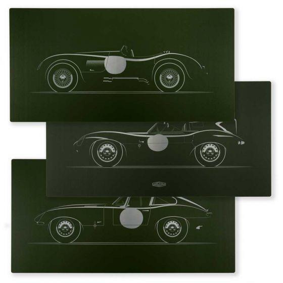 JGAP914GYA - JAG Limited Edition Jaguar C, D and E-type Artwork on Aluminium - Set of Three